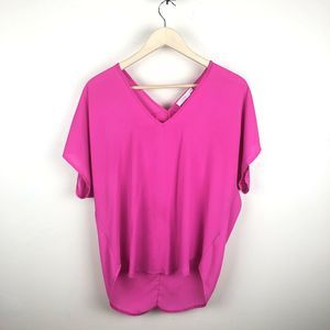 Lush Neon V Neck Popover Hi Low Top
